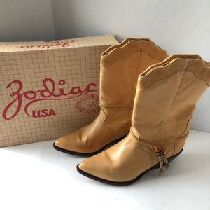Zodiac Cowboy Boots Yellow Vintage 8.5 with Box
